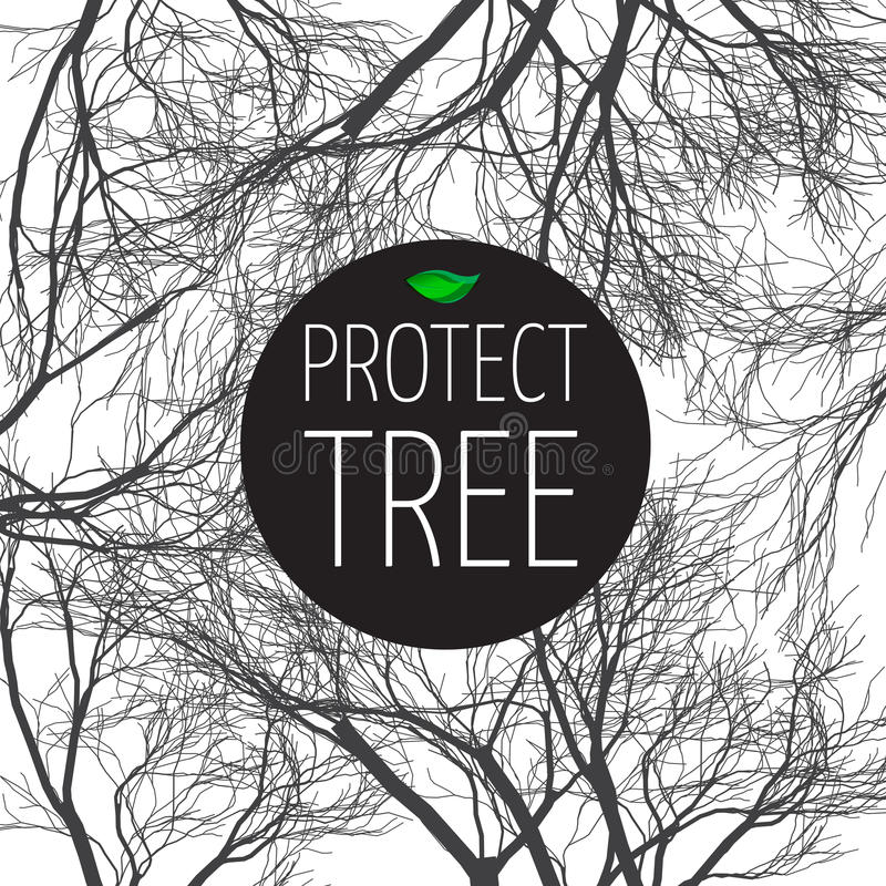 Poster protect tree royalty free illustration