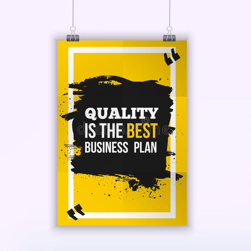 Poster Quality is the best business plan. Motivation Business Quote Design Concept on paper with dark stain.  vector illustration