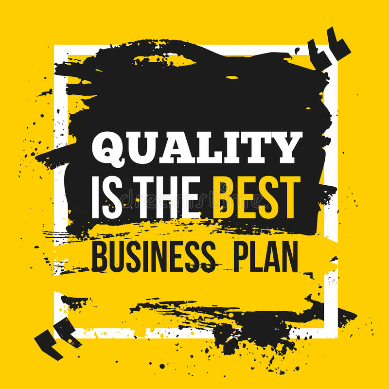 Poster Quality is the best business plan. Motivation Business Quote Design Concept on paper with dark stain royalty free illustration