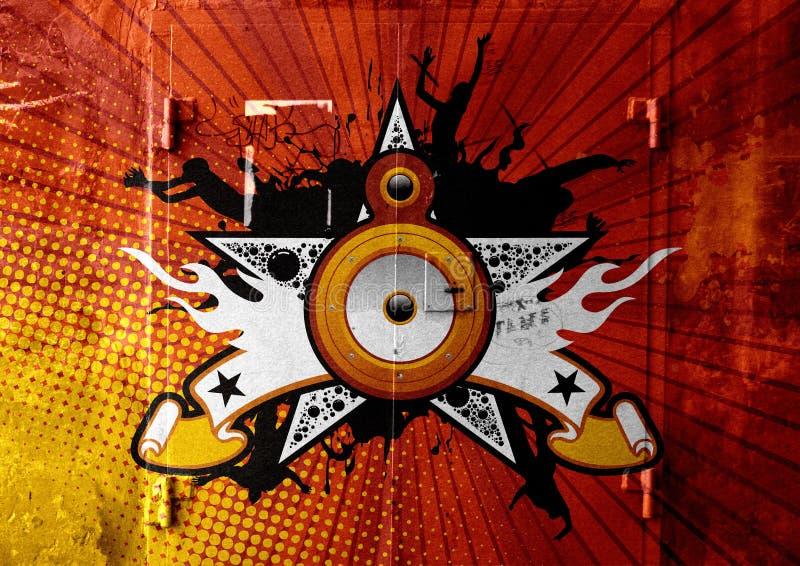 Poster retro com estrela e Loudspeake ilustração stock