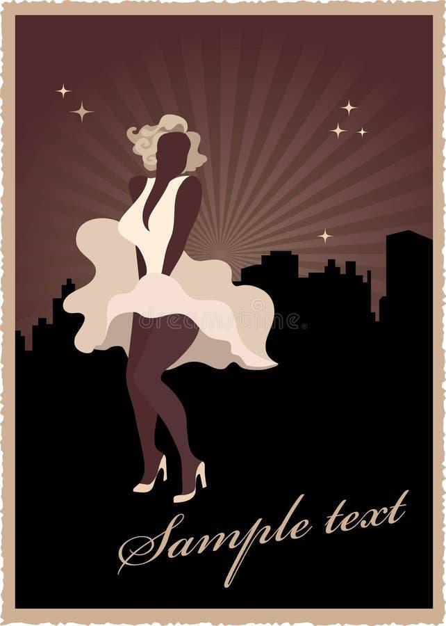 Poster retro com Marilyn Monroe ilustração stock