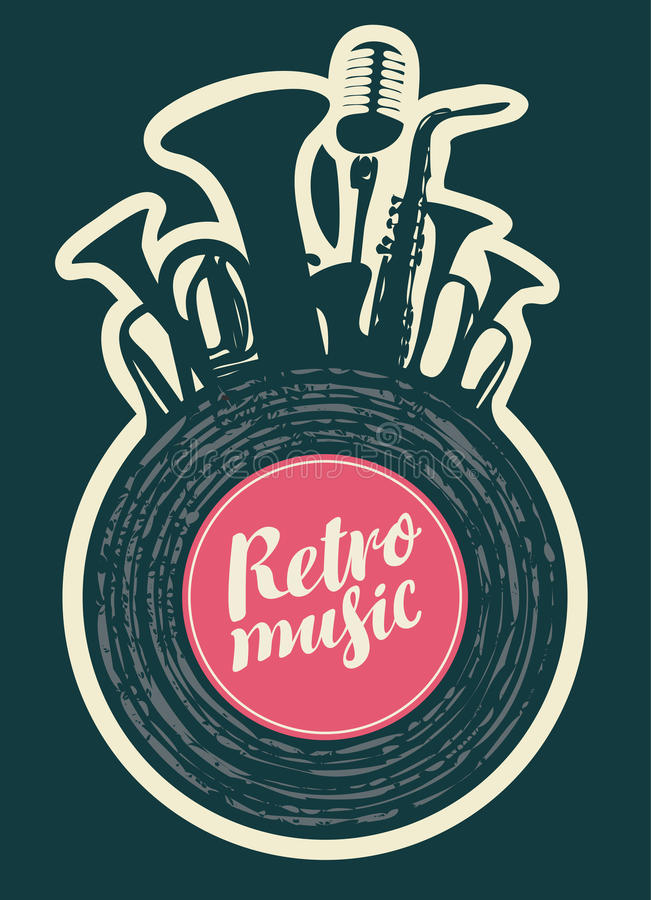 Poster for the retro festival. Poster for the retro music festival with vinyl record, wind instruments and microphone royalty free illustration