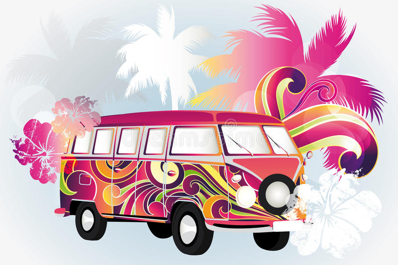 Poster with retro van. In rainbow colors, palms and hibiscus flowers - eps 10 vectors stock illustration