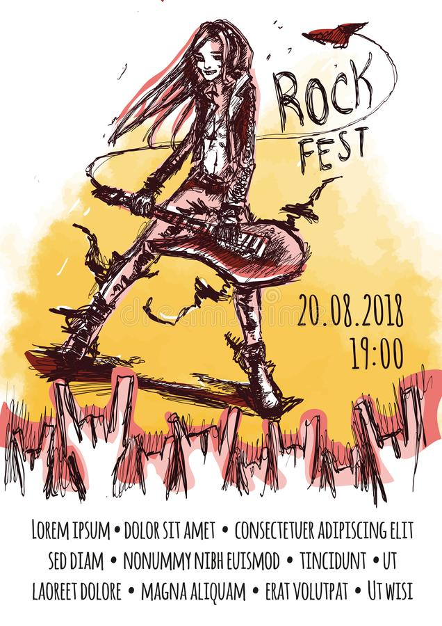 The poster for the rock festival of heavy music . A man with long hair playing the guitar. stock illustration