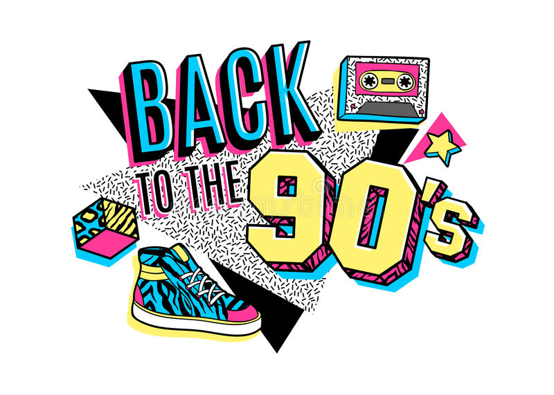 Poster in 80s-90s memphis style. Memphis poster, card or invitation with geometric elements, sneakers and tape cassette. Back to the 90s. Vector illustration in vector illustration