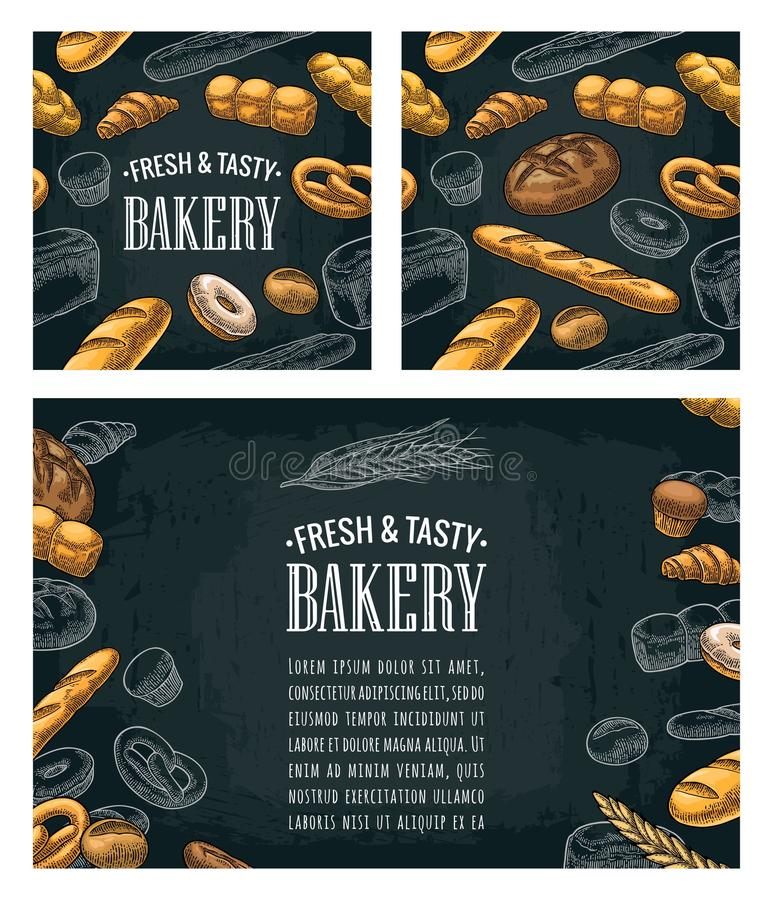 Poster and seamless pattern with bread. Vector vintage engraving royalty free illustration