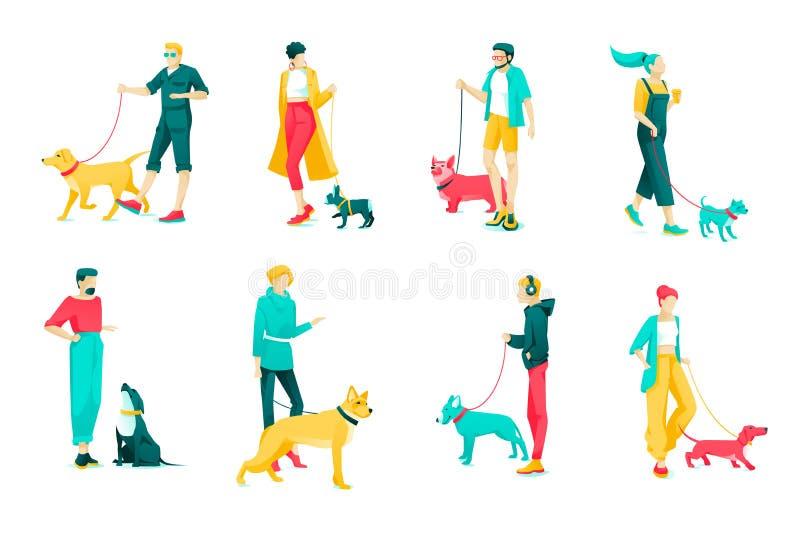 Poster Set Character Dog Owners, Cartoon Flat ilustração do vetor