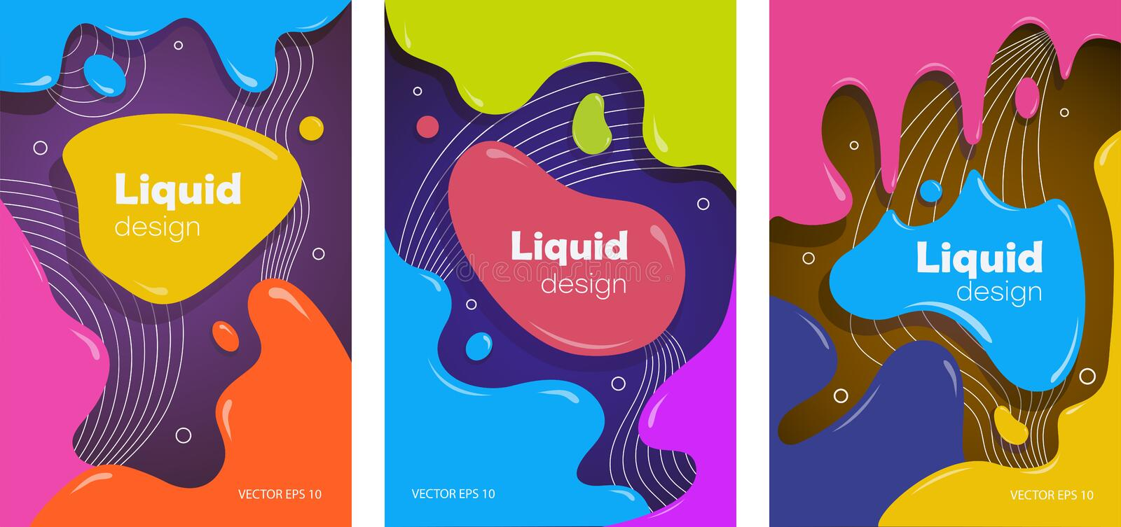 POSTER 13 Set of colorful brochures in liquid style royalty free illustration