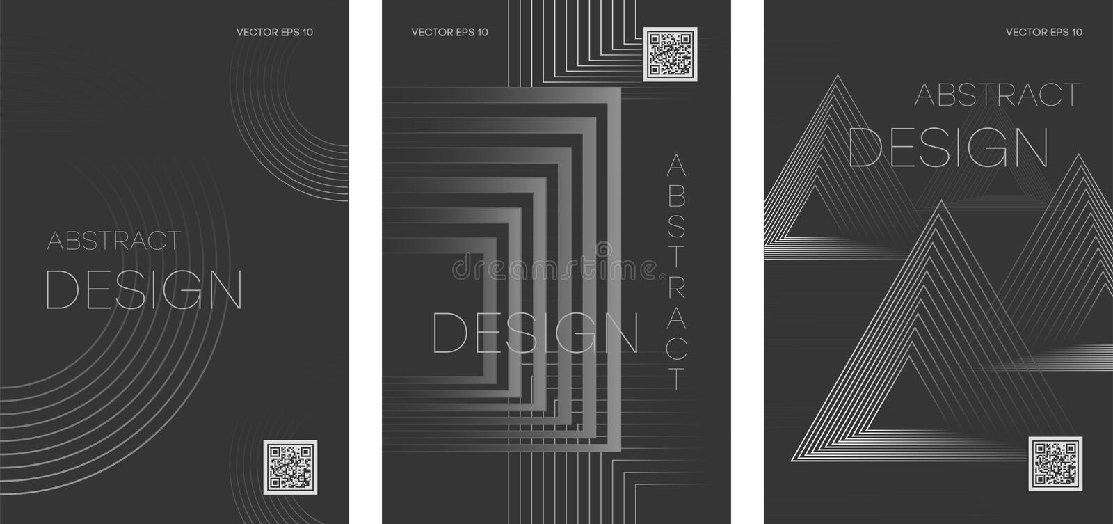 POSTER 09 Set of futuristic abstract brochures with geometric shapes royalty free illustration