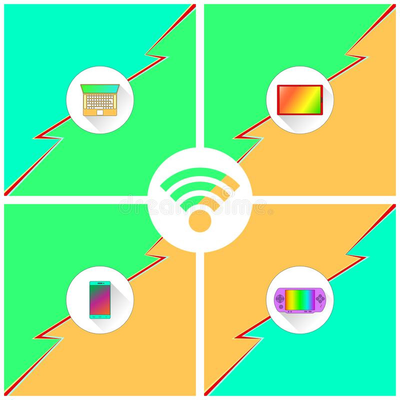 Wi-Fi Devices Poster. Poster shows mobile devices laptop, tablet, phone, console supporting Wi-Fi connection vector illustration