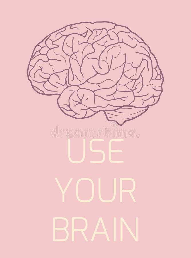 Poster with the sketch of the brain royalty free illustration