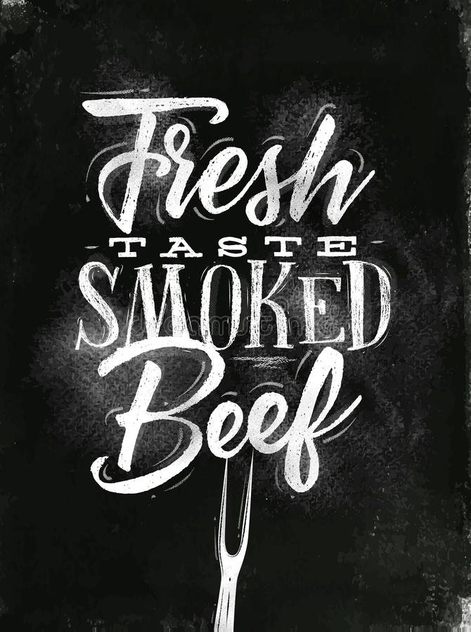 Download Poster smoked beef chalk stock vector. Image of banner - 83718401