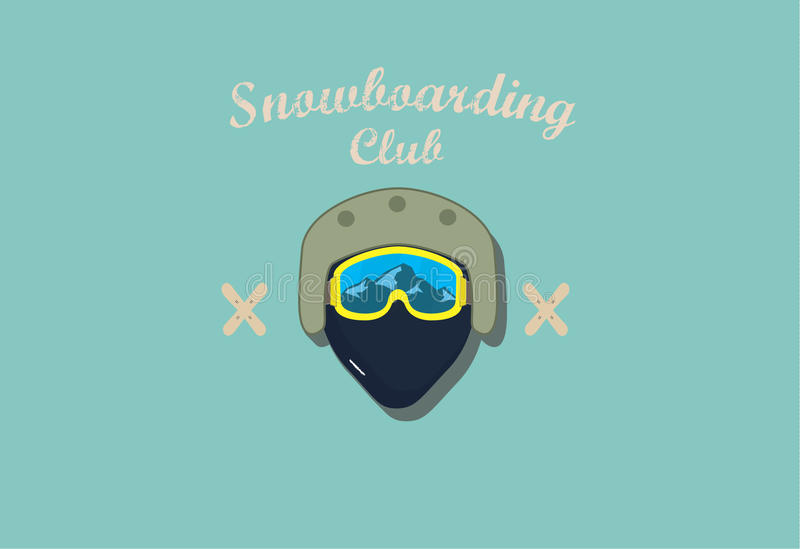 Poster snowboarding club stock photography