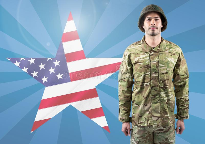 Poster of soldier in front of american flag star and blue background stock images
