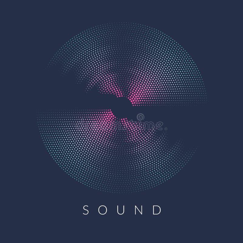 Poster of the sound wave. Vector illustration on dark background royalty free illustration