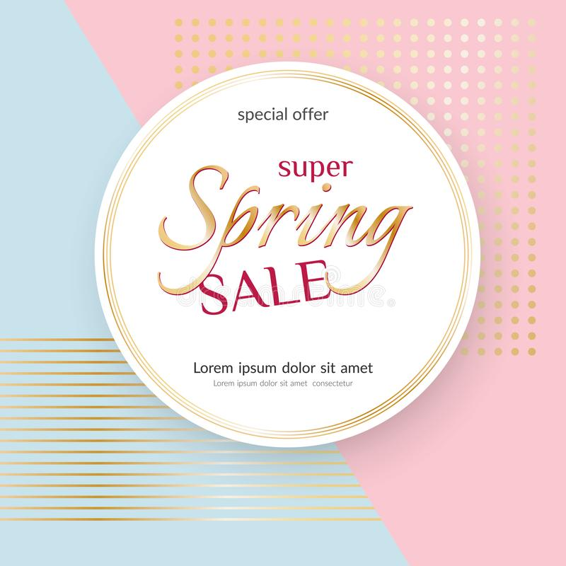 Poster Spring Sale Elegant golden specks pink background Luxury card poster for advertising sale promotions discounts Beautiful vector illustration