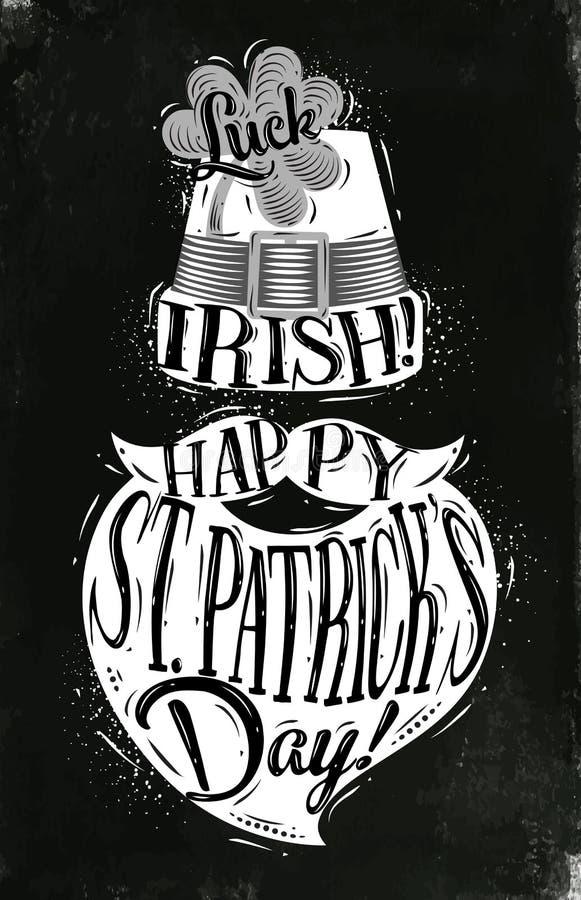 Poster St Patrick chalk vector illustration
