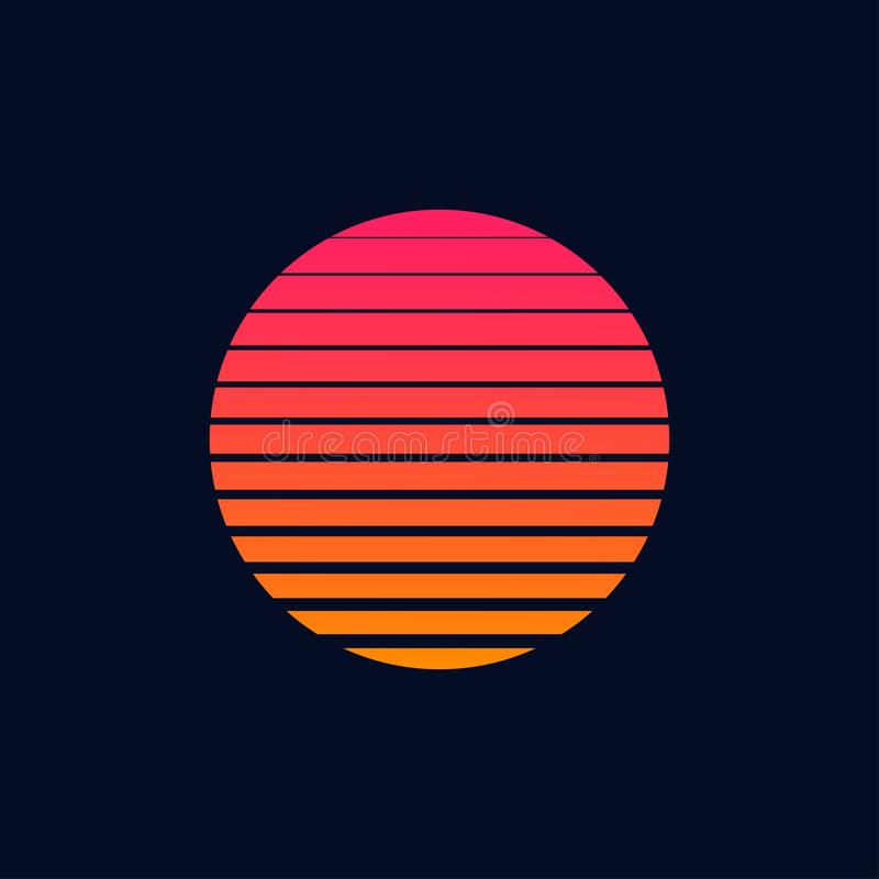 Poster sulla luna futuristica retroattiva in stile flyer anni ottanta anni '80 o '90 la luna di vintage di moda tagliata a fette royalty illustrazione gratis