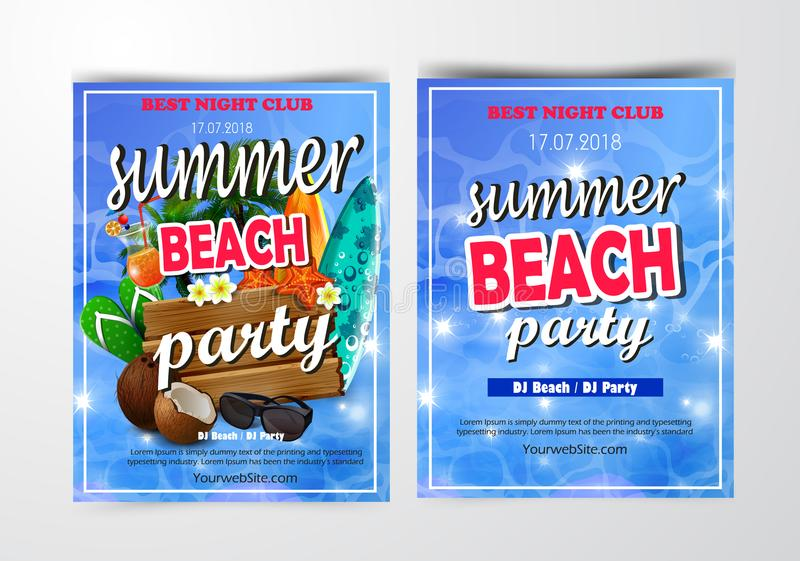 Poster for summer and beach party background vector illustration