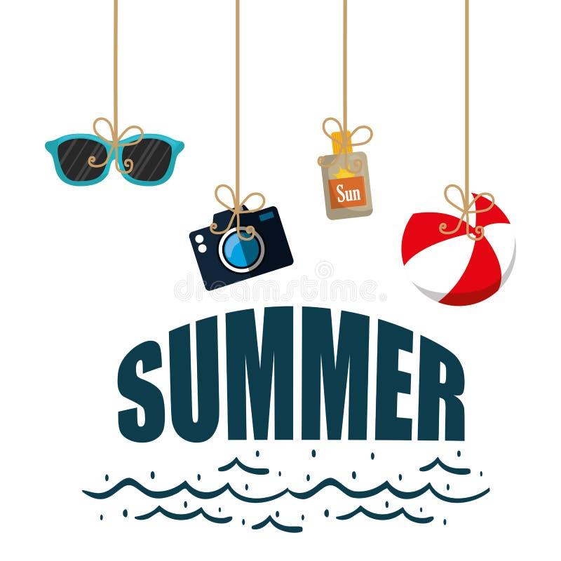 Poster summer hanging ball camera sun blocker glasses stock illustration