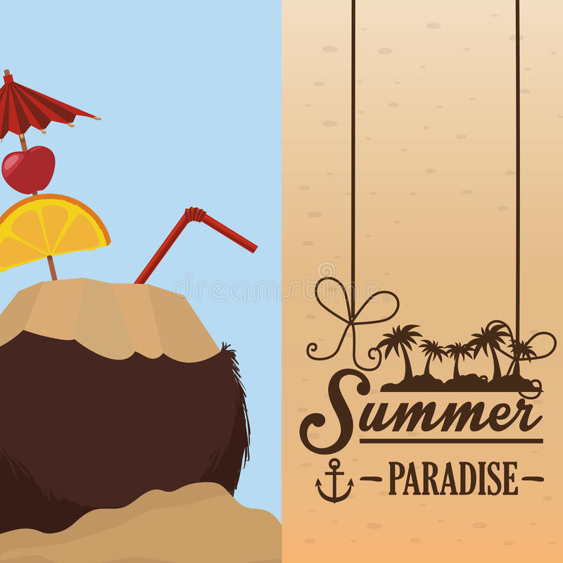 Poster summer paradise beach coconut cocktail cherry lime straw royalty free illustration