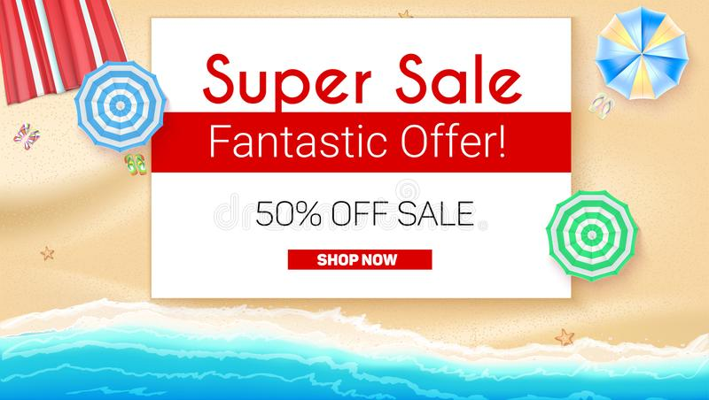 Poster of Summer sales on seashore backdrop. Get up to fifty percent discount, special offer. Beach umbrellas, golden. Sand, slippers and starfish on backdrop royalty free illustration