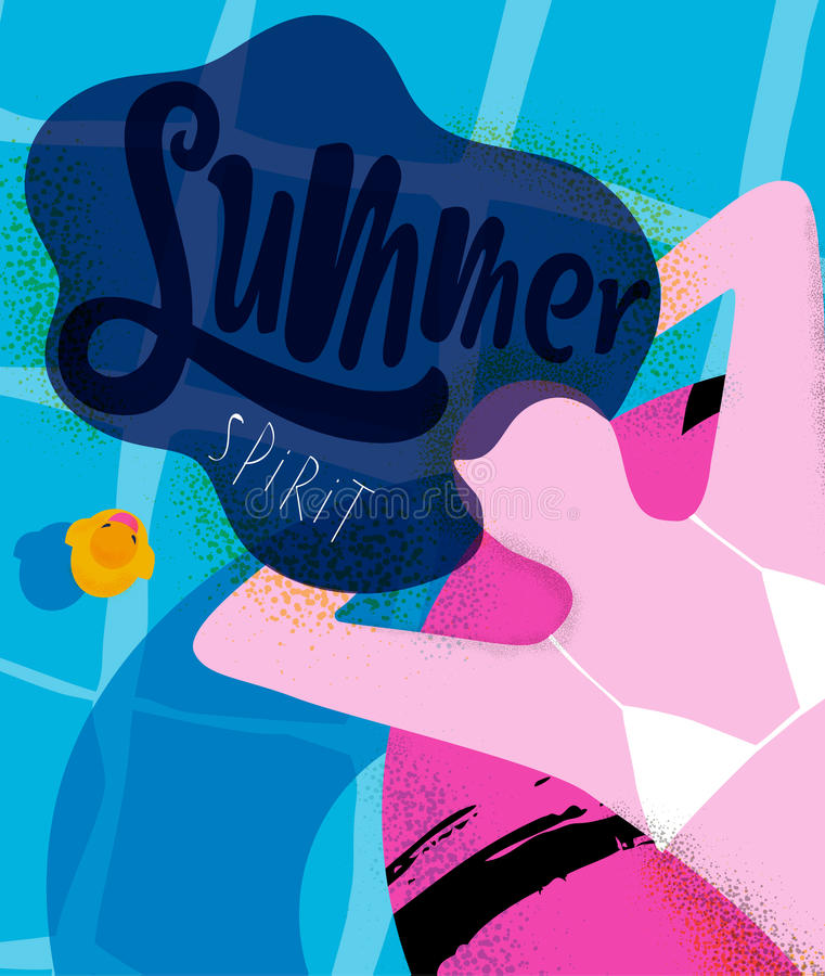 Poster summer spirit. Summer spirit poster girl on inflatable ring in swimming pool, bright colorful modern style royalty free illustration