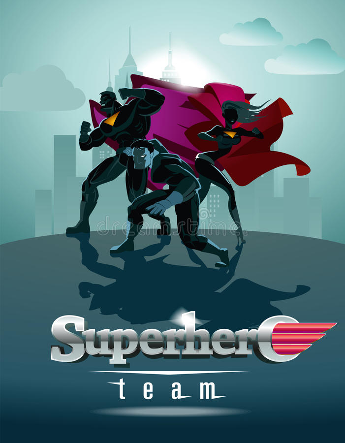 Poster. Superhero Team; Team of superheroes, posing in front of. A light royalty free illustration
