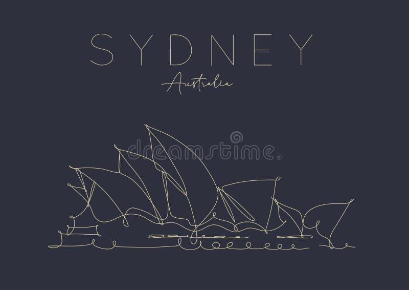 Poster Sydney Opera House dark royalty free illustration