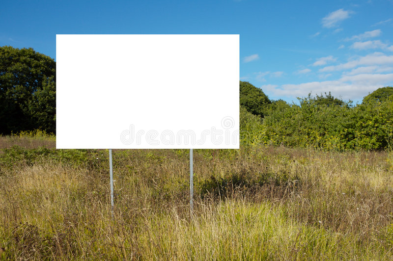 Poster in target. Landscape with poster with white bottom so that you can write what wishes stock photography