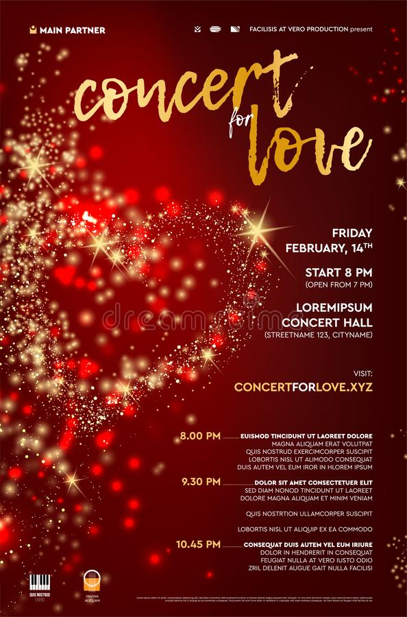 Poster template for abstract concert with red background and heart. Poster template for abstract concert with sample text and icons. Red background with shining stock illustration