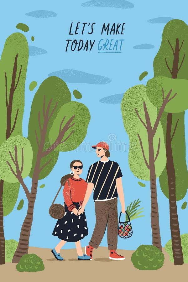 Poster template with cute couple holding hands and walking together at park and romantic phrase. Young boy and girl in. Love or pair of lovers on date. Flat vector illustration
