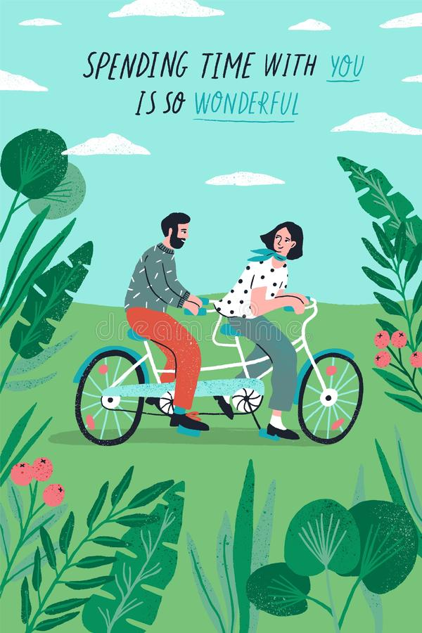 Poster template with cute couple riding tandem bike at park and romantic phrase. Young boy and girl in love or pair of. Lovers on bicycle. Flat cartoon vector stock illustration