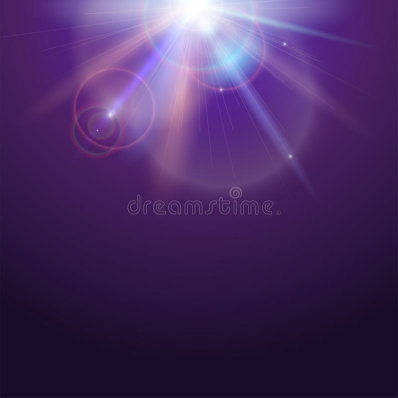 Poster template with glow light effect. Bright light of sun rays and lens flare backdrop with copy space. Star burst stock illustration