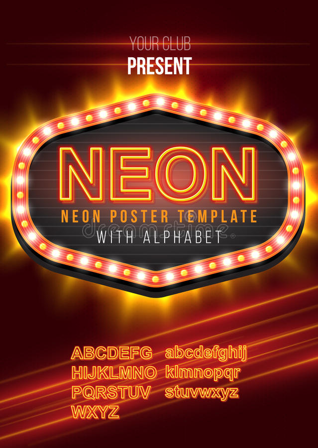 Poster Template with Glowing Neon Alphabet. vector illustration