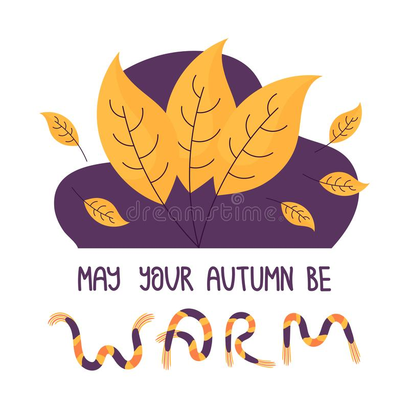 Poster template with hygge autumn leaves and lettering. Cute hygge illustration with yellow autumn leaves, lettering and violet blob. White background. Flat stock illustration
