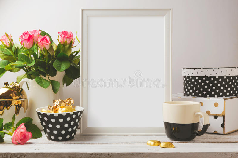 Poster template mock up with glamour and elegant feminine objects stock images