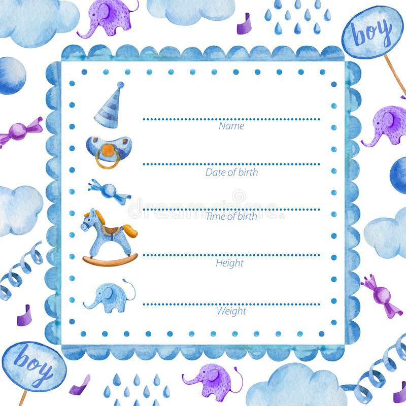 Poster template for newborn baby boy_Baby Shower vector illustration