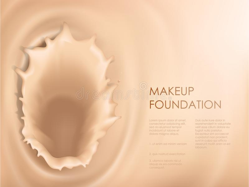 Poster with texture of splash of liquid foundation. Vector 3D cosmetic background for the promotion of colorstay foundation concealer Realistic poster with vector illustration