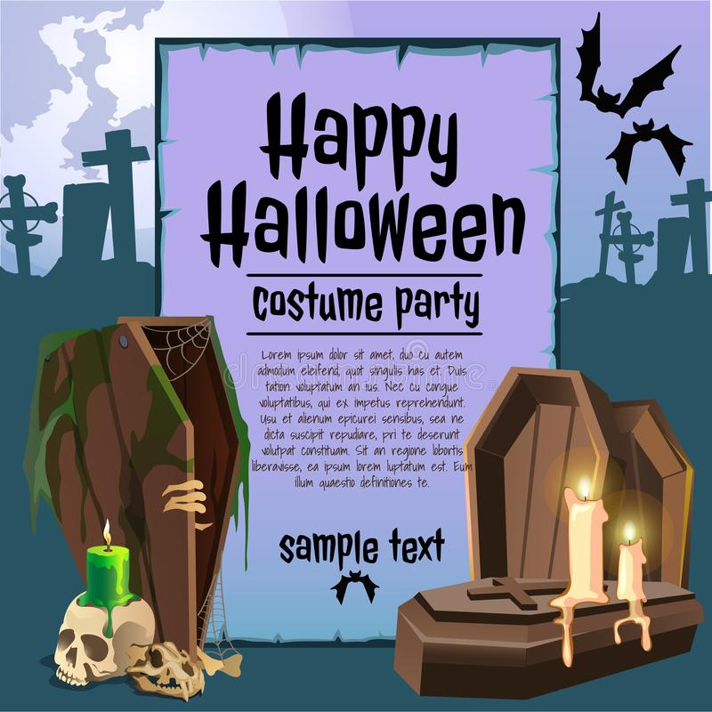 A poster on the theme of the Halloween holiday. Vintage wooden coffins and candles. Vector illustration. vector illustration