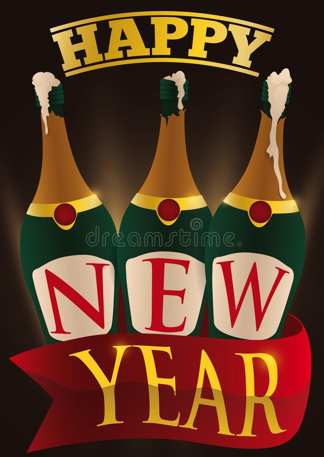 Opened Champagne Bottles and Ribbon ready for New Year Celebration, Vector Illustration vector illustration