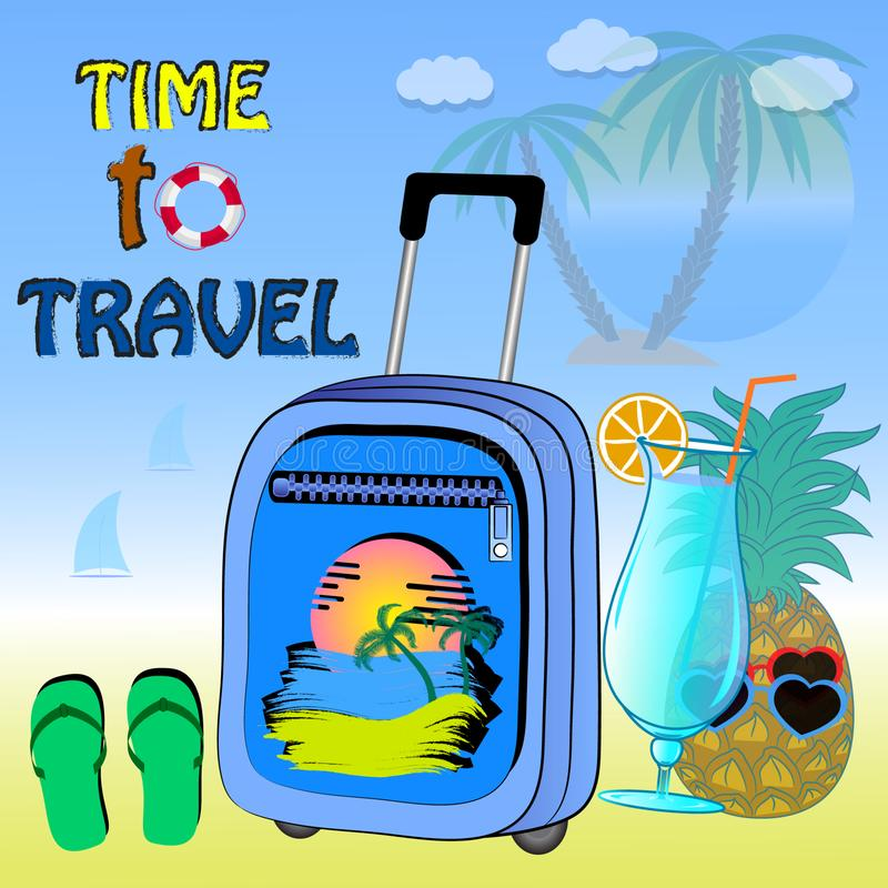 Poster time to travel vector illustration. vector illustration