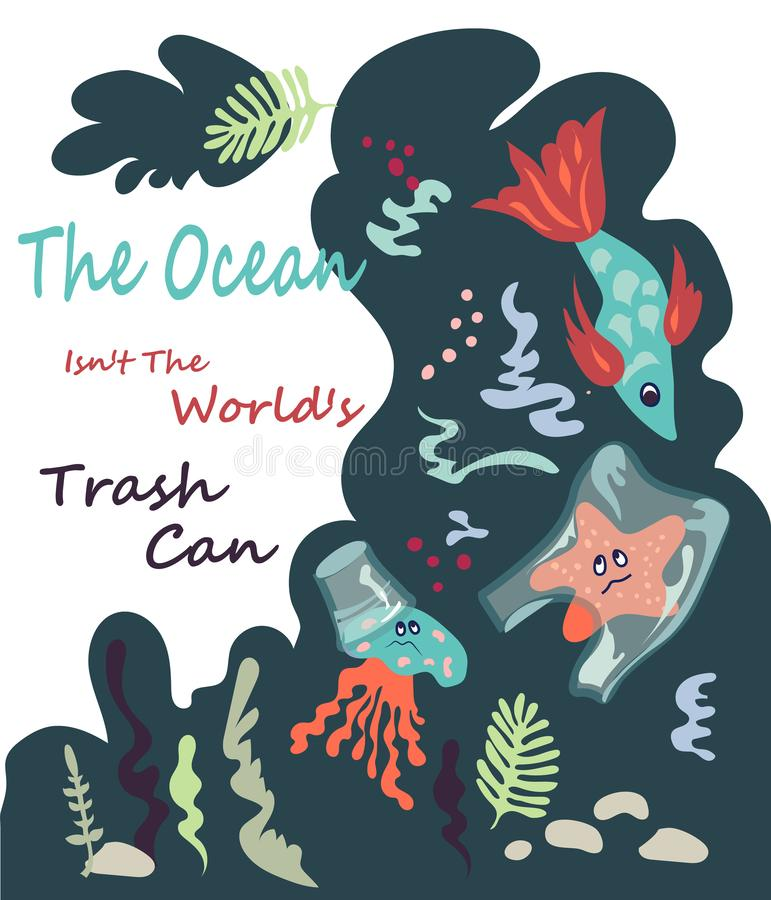 A poster to save ocean from plastic waste with a sea dewells vector illustration stock illustration
