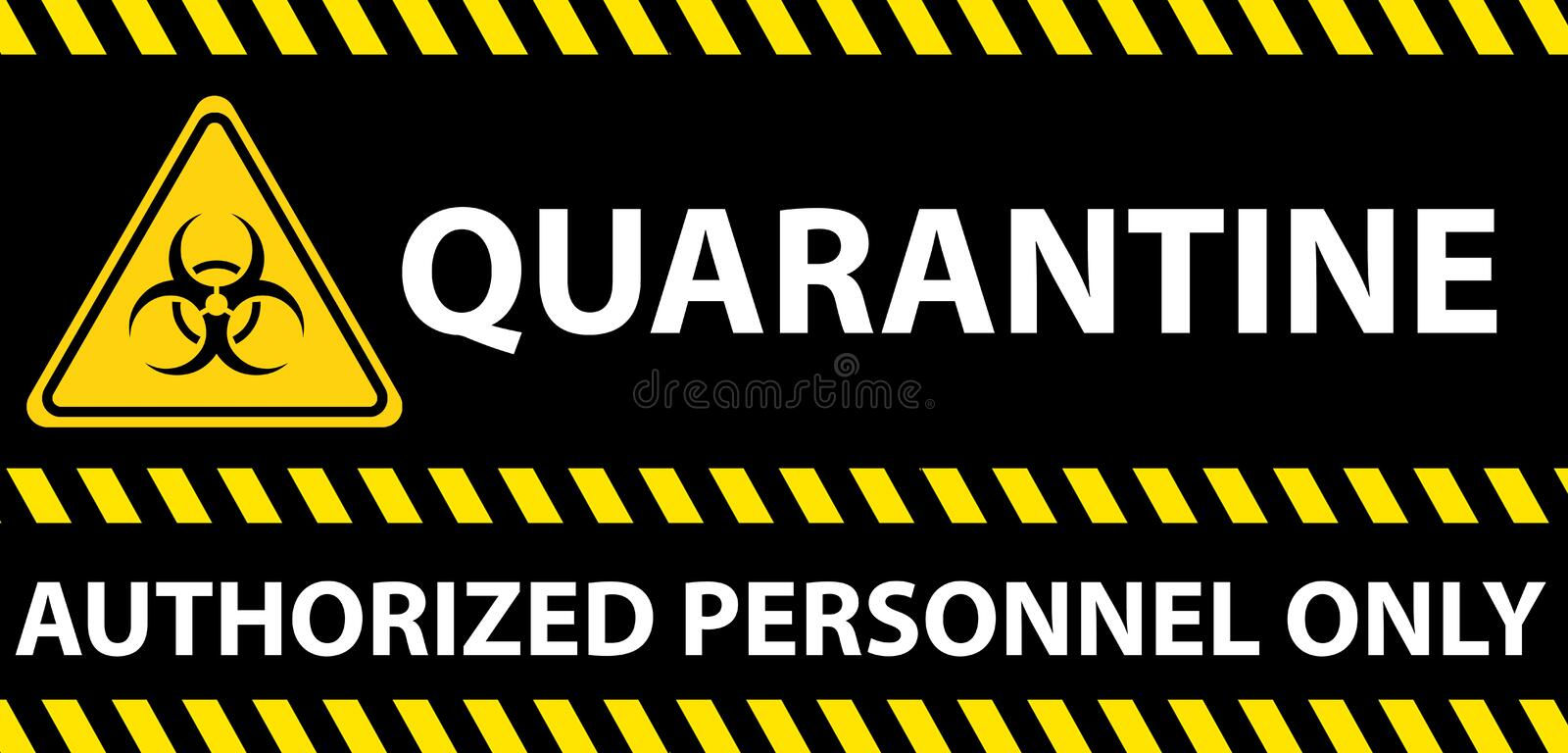 Poster with toxic biohazard sign with \'Quarantine\' and \'Authorized personnel only\' warning. A poster with toxic biohazard sign with \'Quarantine\' and \' vector illustration
