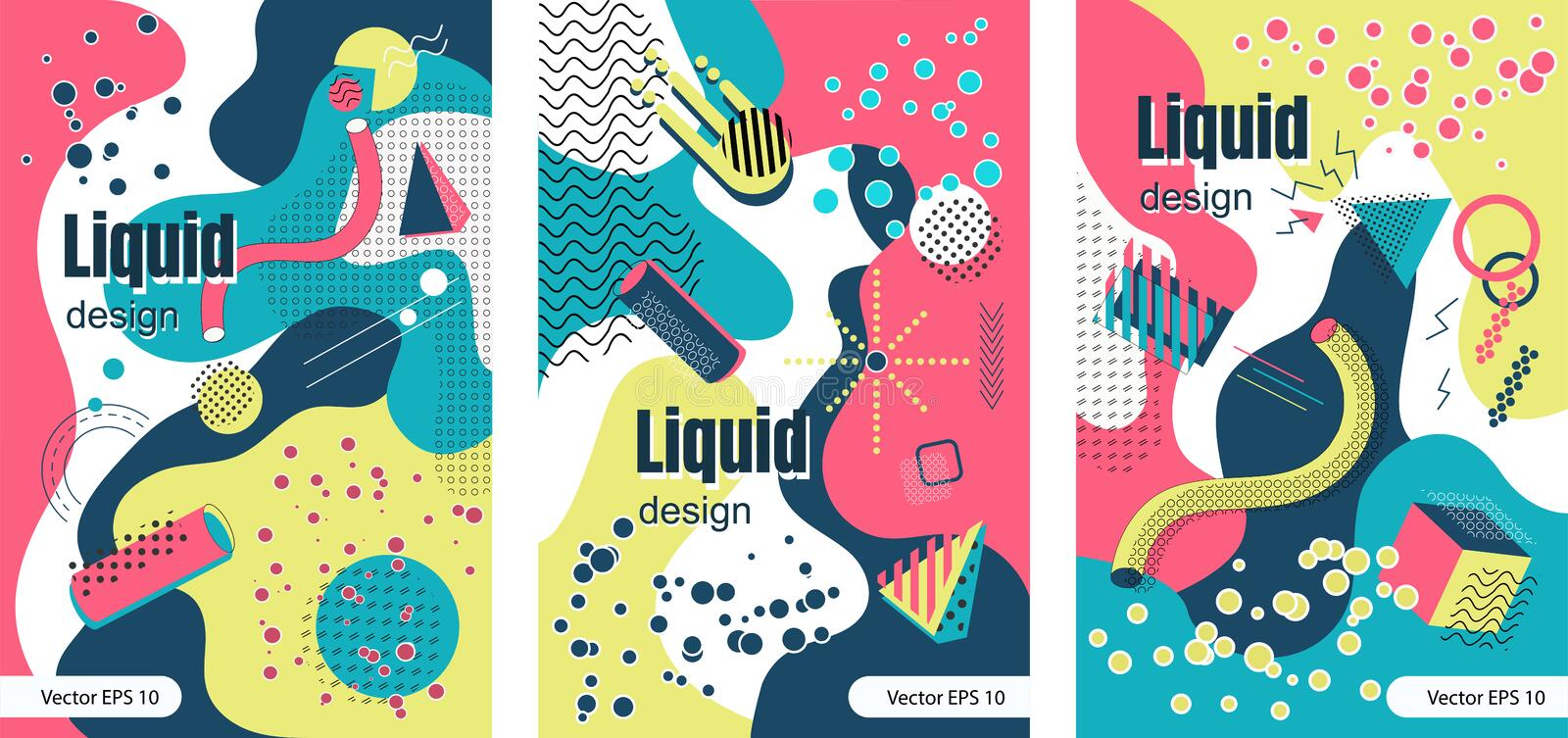POSTER 21 Trendy colorful collection in MEMPHIS styles vector illustration