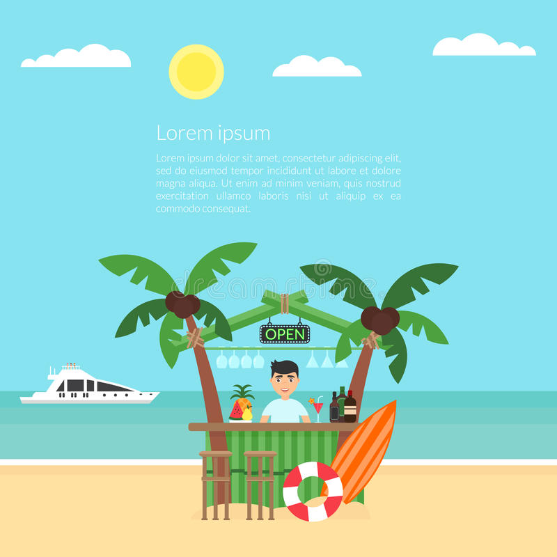 Poster the vacation at the ocean. Sea, yacht, bar and a palm tree. Modern flat design. Vector illustration. Summer. Poster the vacation at the ocean. Sea, yacht royalty free illustration