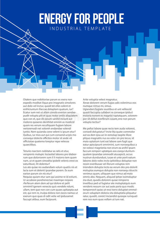 Poster vector template with electric power lines and city skyline stock illustration
