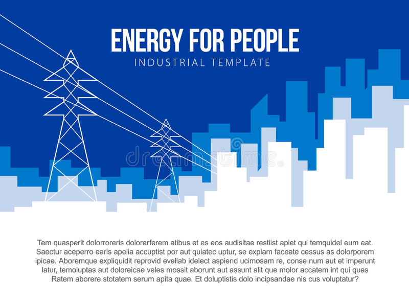 Poster vector template with electric power lines and city skyline vector illustration