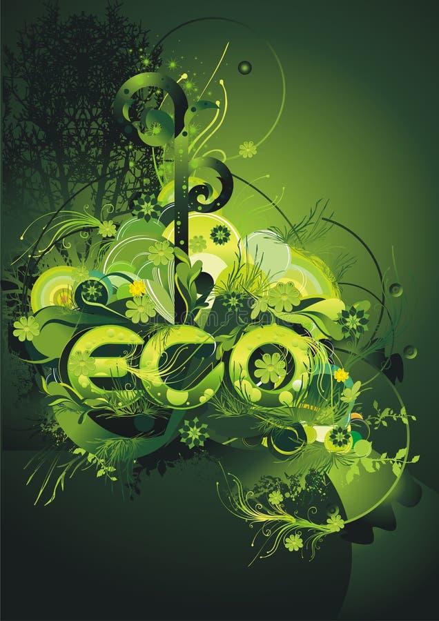 Poster verde ambiental ilustração royalty free
