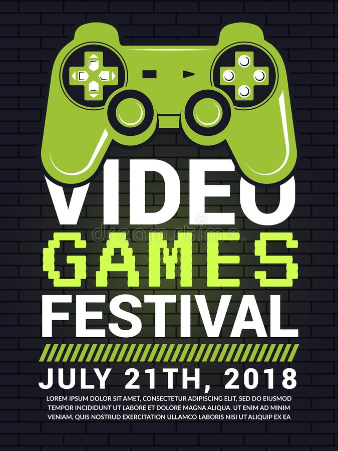 Poster of video game festival. Cyber sport concept with gamepad picture vector illustration